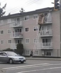 thumb moving couch up a ladder three stories